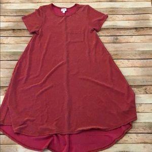 LuLaRoe Rose Gold Sheen Carly Dress Size Small